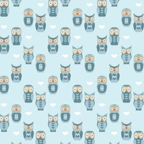 Owls and Hearts in Blue Small
