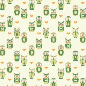 Owls and Hearts in Green & Yellow Small