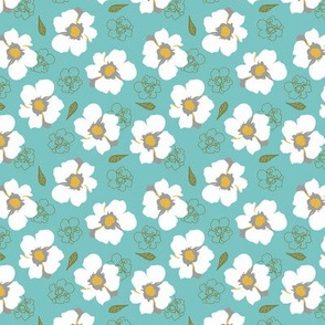White Dogwood Flowers Turquoise Small