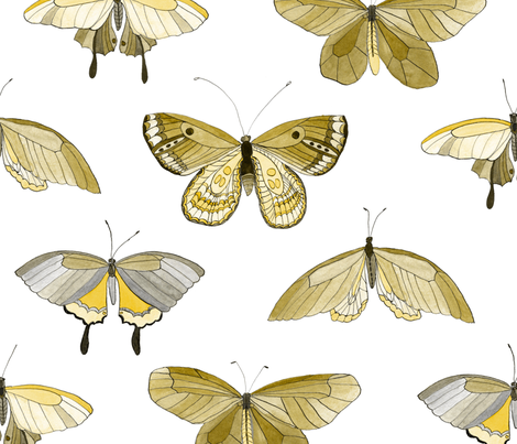 butterflies medium scale ochre fabric by marjoleinrooijmans on Spoonflower - custom fabric
