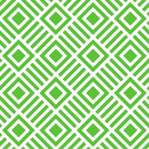Geometric Square Green White Tonal Large