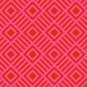Geometric Square Red Pink Tonal Large
