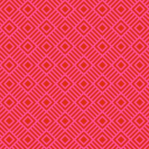 Geometric Square Red Pink Tonal Small