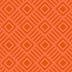 Geometric Square Orange Coral Tonal Large
