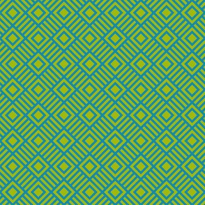 Geometric Square Teal lime green small