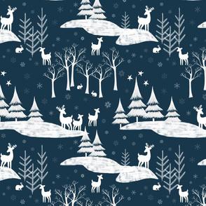 Snowy Forest Dark Blue