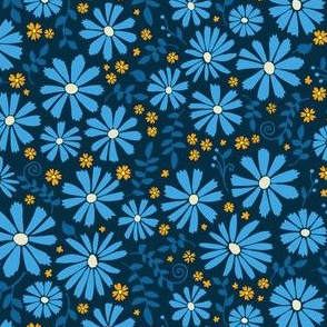 Field of Daisies - blue and orange on black