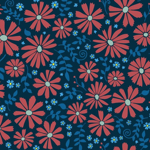 Field of daisies - red and blue on black