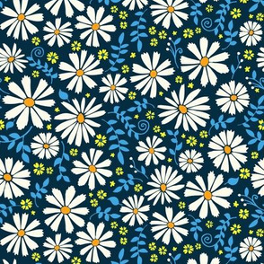 Field of daisies - white with yellow and blue on black