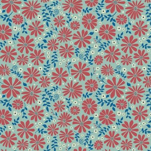 Field of daisies - red and blue on sage