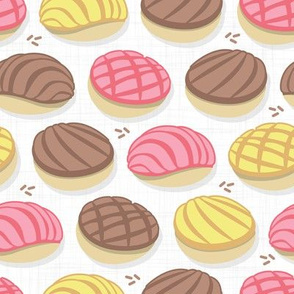 Mexican conchas // small scale // white background pink yellow & brown shells