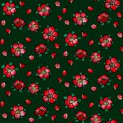 cherry blossoms on dark green