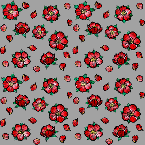 cherry blossoms on light grey fabric by susyrdesign on Spoonflower - custom fabric