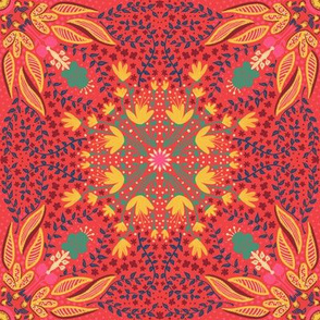 Folk Floral (bright salmon)