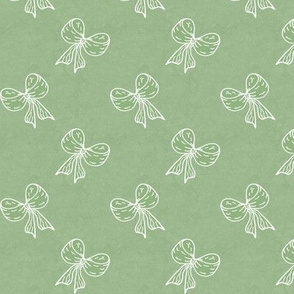 Bows Flip Flop Repeat White on Aged Sage