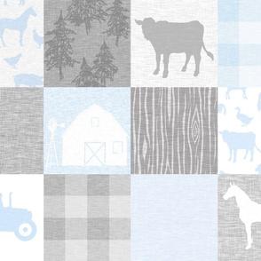 No word Farm Quilt - pale blue