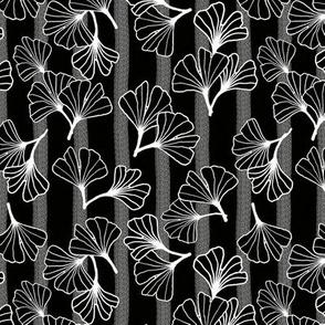 White Outline Ginkgos on Black Stripe