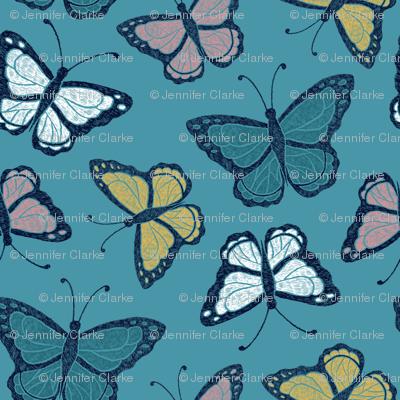 Butterflies - turquoise/multi