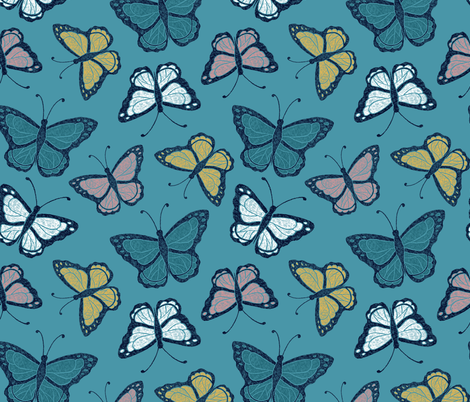 Butterflies - turquoise/multi fabric by jenuine_designs on Spoonflower - custom fabric
