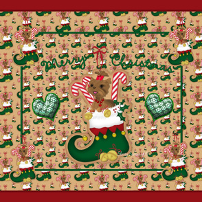"Yorkie Christmas Elf Quilt Panel - 42x36"" sized"