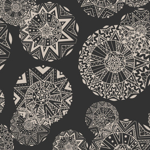 Shapes and Lines Jumbo Beige On Black