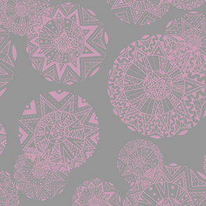 Shapes And Lines Jumbo Pink On Gray