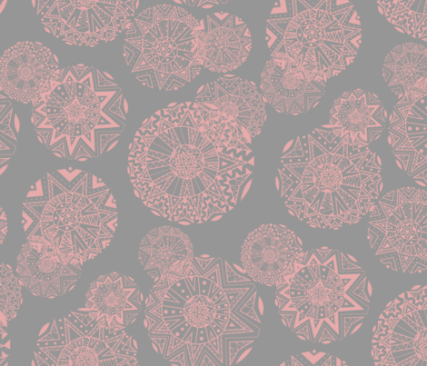 Shapes And Lines Jumbo Salmon On Gray fabric by elizabeth_chia on Spoonflower - custom fabric
