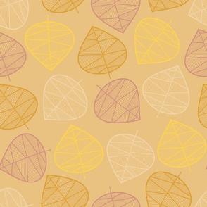 Geometric leaves beige
