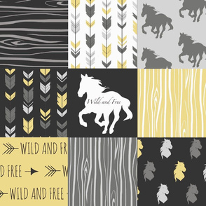Horse Patchwork - Yellow And Black -Wild and Free Horses-ch