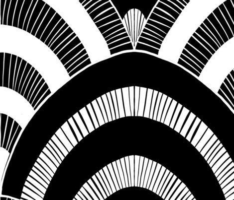giant black and white scallops fabric by beesocks on Spoonflower - custom fabric