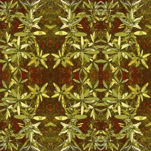 Golden Sage Leaves on Red Art Nouveau Tapestry