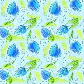 Blue Tulips Flowers on Blue