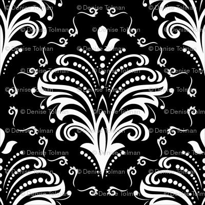 Damask Large Floral White on Black