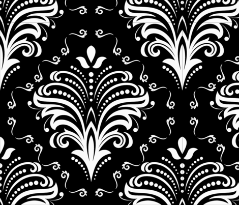 Damask Large Floral White on Black fabric by fabric_is_my_name on Spoonflower - custom fabric