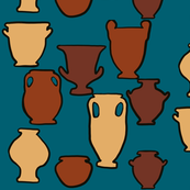 Clay urns on teal