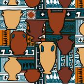 Terracotta urns teal pattern