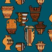 Terracotta pattern on teal