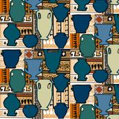 Teal tubs terracotta pattern