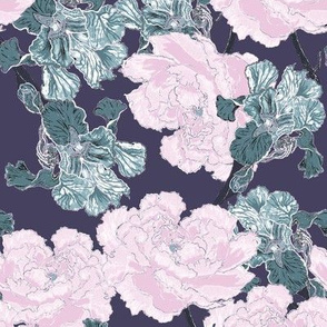 Irises and Peonies Currant Background