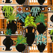 Greek pot plants terracotta pattern