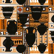 Charcoal urns terracotta pattern