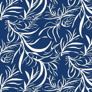 Feathery Leaves of Icy Cream on Deep Indigo - Large Scale