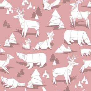 Origami woodland monochromatic II // small scale // dry rose background white animals