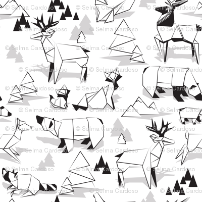 Origami woodland monochromatic VI // small scale // white background black and white animals