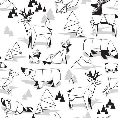 Origami woodland monochromatic VI // small scale // white background black and white animals fabric by selmacardoso on Spoonflower - custom fabric