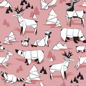 Origami woodland monochromatic VII // small scale // dry rose background black and white animals