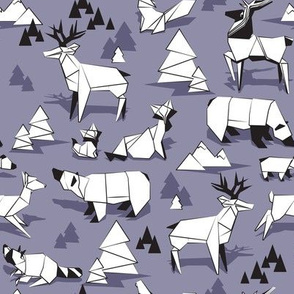 Origami woodland monochromatic XI // violet background black and white animals
