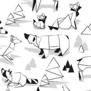 Origami woodland monochromatic VI // large scale // white background black and white animals