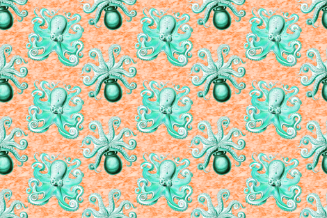 haeckel's octopus  aqua+orange ink  fabric by keweenawchris on Spoonflower - custom fabric