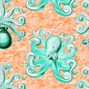 haeckel's octopus  aqua+orange ink